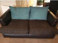Brown and teal 3+2 seater sofa