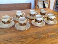 7 x POOLE POTTERY COFFEE CUPS & SAUCERS.