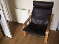 Ikea Brown Leather Chair