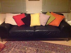 2x black leather sofa. Width 220cm height 75cm depth 100cm.