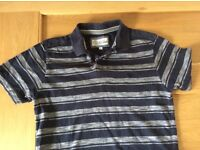 Fat face blue and white striped polo shirt (XS)