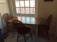 Table & chair set- solid teak, excellent condition