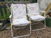 Retro Folding Deckchairs . Set of 4 with covers.