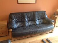 Navy blue leather 3-seat sofa on solid oak frame