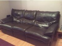 dark brown leather suite, 3 & 2 seater recliners