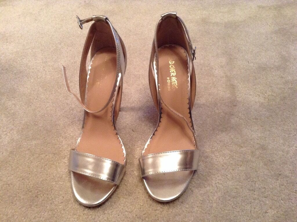Head over heals silver heeled sandals size 4 very good condition