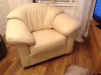 Cream leather sofa and matching armchair as new
