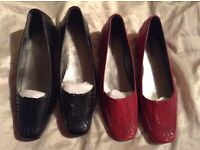 Ladies Flat Shoes : Red, Black SIZE 6 ; BRAND NEW