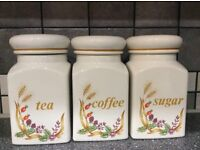 Tea Coffee & Sugar Ceramic storage Jars