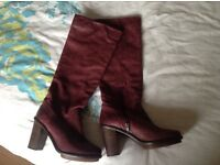Burgundy leather boots size 4