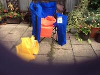 2 MAC FISHERMEN CHAIRS WITH CARRYING BAGS + WATER PROOF SUITES