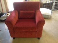 Red velour armchair as new