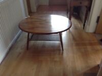 Ercol coffee table, beech & elm, 100 x 84 cm. Colour is as on the left of the photo.