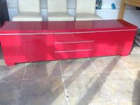 Red IKEA High Gloss Tv Unit, 2 Large Draws, 3 Shelves, Chrome Flat Handles