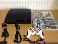 PLAYSTATION 3 SLIM 160GB BUNDLE 1 WIRELLESS CONTROLLER - 4 GAMES - HDMI CABLE