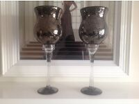 """Pair of Large 20"""" full glass goblets , ornaments, new , see photos , not needed as change of plans ."""
