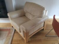 Cream Leather Armchair DFS