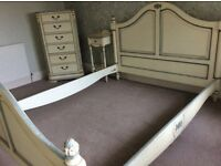 Shabby chic king size bed and side table