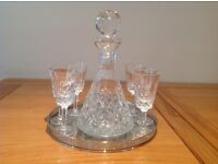 Tyrone crystal decanter and glasses