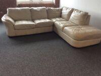 White/Cream Leather Corner Sofa