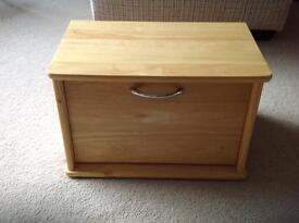 Pine wooden bread bin box storage drop leaf