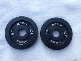2 x 2.5lb (1.1kg) Marcy Standard Cast Iron Weights