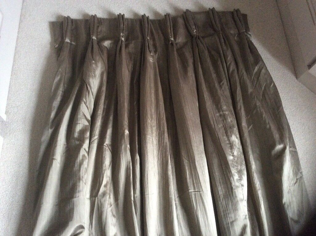Fully Lined Full Length Mocha Satin Finish Curtains