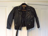 Vintage unisex leather motorbike jacket