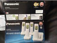 NEW PANASONIC DIGITAL CORDLESS PHONES [QUAD] X 4 PLUS ANSWERING MACHINE