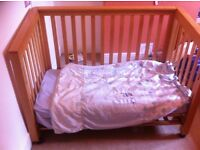 Cotbed / Cot Bed with co-sleep option. Mamas and Papas, wooden.