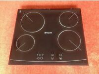 Hotpoint black ceramic 4 ring electric hob with instructions in excellent condition