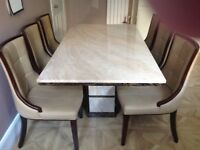 MARBLE DINING TABLE AND 6 CHAIRS £725