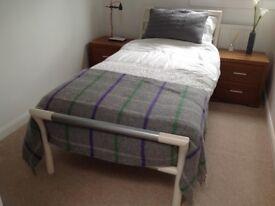 Designer tubular framed single bed with mattress