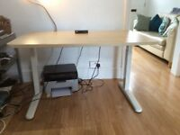 Furna electric standing desk, maple and white.
