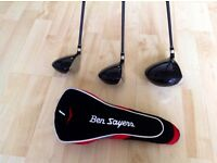 Set of 3 Woods with Head Covers For Sale.