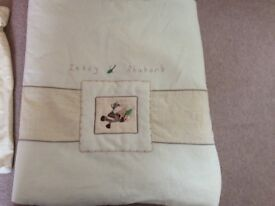 Zeddy and rhubarb quilt with matching laundry bag