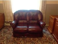 Leather 3 piece suite - 2 seater sofa & 2 matching armchairs