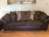 Brown Leather and Cushion Back DFS 3 Seater Sofa, Cuddler and Foot Stool