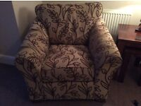 Used M&S Abbey Armchair in beige with brown pattern with cushions to match
