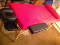 Massage couch wood base black leather type top