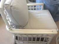 2 Large White Rattan Armchairs with grey cushions £35 each