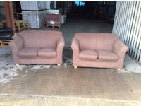 Free Local Delivery - Pair of Brown 2 Seat Fabric Sofa - £99 for the Pair