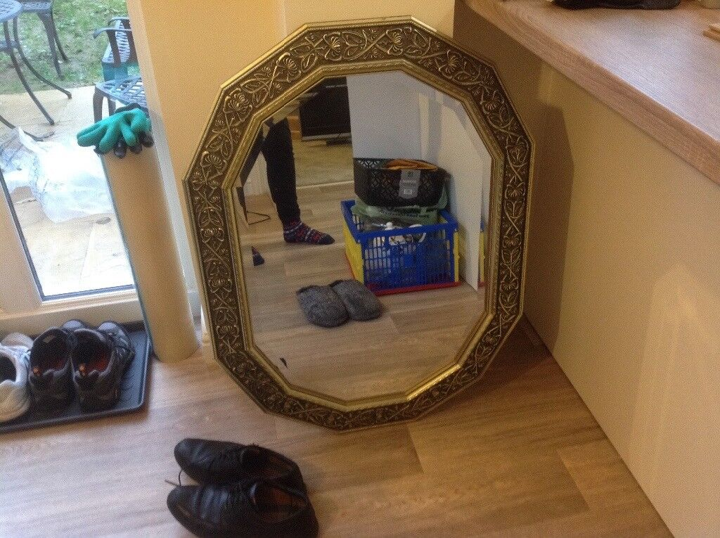 Gold 12 sided mirror