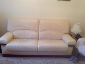 3 piece Cream Leather suite used but very well cared for and maintained first to view will buy -