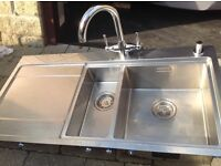Stainless steel sink 1.5 bowl and tap