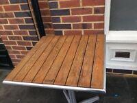 Bolero Oak and metal outdoor square tables