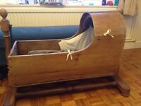 Beautiful wooden antique rocking crib