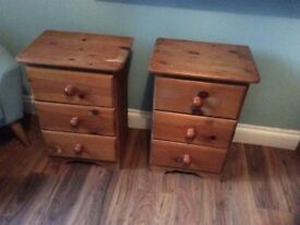 Two sets bedside drawers in pine