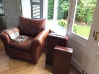 Leather chair barker and stone house