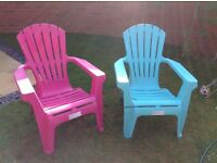 1 pink and 1 turquoise garden chairs
